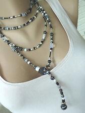 Endlos Wickelkette Ypsilon Y-Kette Halskette Unikat schwarz weiß 7132