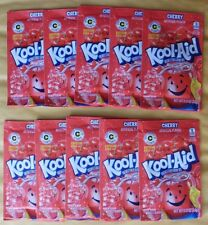 10 packets of KOOL-AID drink mix: CHERRY flavor, TEN packs UNSWEETENED red color