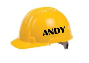 2 x PERSONALISED NAMES FOR HARD HAT SAFETY HELMET - VINYL STICKERS DECALS