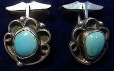 Vintage OLD PAWN Southwest Route 66 Sterling Silver/Turquoise Cuff Links N342-L