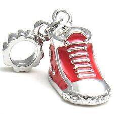 5 Pcs Red Sneaker Boot Shoe Silver European Bracelet Spacers Charms Beads L#542