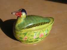 Larger Covered Figural Antique Hand Painted Wooden Box Container Duck India
