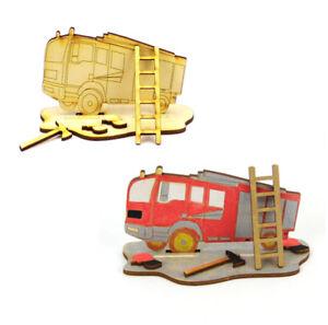 Kreativ Set für Kinder, Geschenk, Feuerwehr, zum Kindergeburtstag, malen Holz