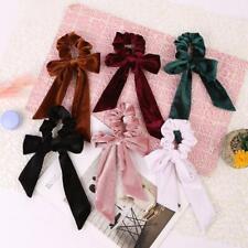 Girls Elastic Velvet Ribbon Bow Hair Tie Rope Women Hair Band Scrunchie Ponytail