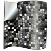 24pc Black White Kitchen Bathroom Tile Stickers Transfers Flat Printed Covers...