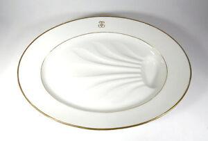 Very Large Antique Porcelain Platter Large Elegant with Gold Monogram