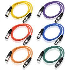 6x XLR Kabel 3pol 1m sw XLR-Stecker/Buchse | Mikrofonkabel | Verbindungskabel