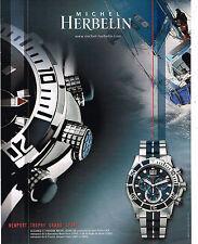 PUBLICITE ADVERTISING 124  2008   MICHEL HERBELIN montre NEWPORT TROPHY GRAND SP