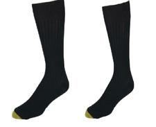 Gold Toe Watson Wool Blend Dress Crew Mens socks, 2 pairs, Black, Size 6-12.5