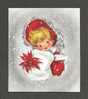 UNUSED '50s GIRL Fur Muff POINSETTIA, Snow Vintage HALLMARK Christmas Card