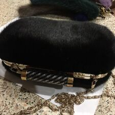 Black mink fur clutch on chain, (Fur Not From China)