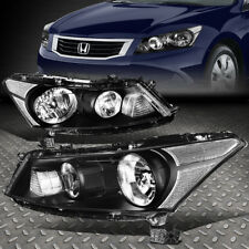 FOR 2008-2012 HONDA ACCORD SEDAN PAIR BLACK HOUSING CLEAR CORNER HEADLIGHT/LAMP