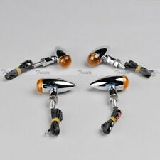 4pcs Mini Bullet Chrome Motorcycle ATV Turn Signal Bulb Indicator Light Orange #