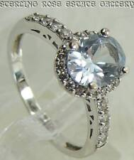 Blue Spinel 9 mm CUBIC ZIRCONIA Sterling Silver 925 Estate Engagement RING sz 10
