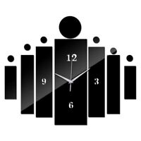 Wall Stickers Acrylic Mirrored Square Clock Modern Style Clocks Home Decoration