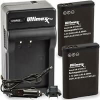 ULTIMAXX Replacement Battery and Travel Charger for Nikon EN-EL23