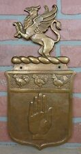Antique Bronze Griffin Roosters Hand Decorative Art Plaque Sign Ornate Detailed