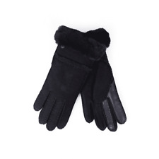 UGG Australia Seamed Tech Sheepskin Leather Gloves Black UK Small / Medium