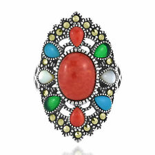 Vintage Oval Red Coral Center Mix Color Adornment Stones Statement Ring-7