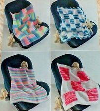 SELECTION OF 4 BABY'S CAR SEAT/SMALL BLANKETS KNITTING PATTERNS IN DK