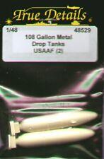 True Details 1/48 108 Gallon Drop Tanks - Metal USAAF x 2 # 48529