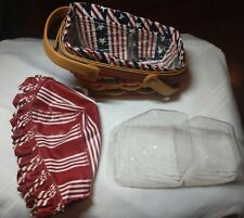 Longaberger 1996 Mini Veg.Basket 18911/ Signed Judy#8 / 2 Fabric 2 Plastic Liner