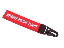 REMOVE BEFORE FLIGHT ® Schlüsselanhänger mit Schnabel-Karabiner • Rot / Schwarz