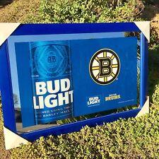 "Bud Light Budweiser Boston Bruins NHL Hockey 2016 Beer Bar Man Cave Mirror ""New"""