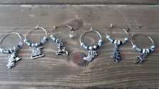 6 Christmas Winter Wine Glass Charms