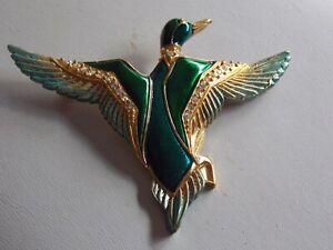 Striking Vintage Green Enamel & Diamante Mallard Duck Brooch