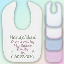 Handpicked for Earth Sister Embroidered Baby Bib Gift Personalised Heaven