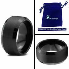 Free Engraving - Black Tungsten Carbide Beveled Brushed Center Wedding Band Ring