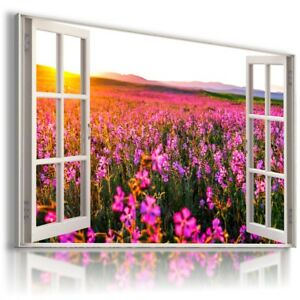 PINK FLOWERS FIELD 3D Window View Canvas Wall Art Picture W578 MATAGA