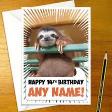 SLOTH Personalised Birthday Card - A5 wild sloths boy girl cute funny happy