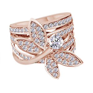 GORGEOUS 18K ROSE Gold OVER STUNNING DRAGONFLY CZ ENGAGEMENT RING