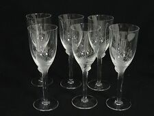 SET of 6 LALIQUE CRYSTAL ANGEL WING ANGE CHAMPAGNE WINE FLUTE GLASS ~ 8""