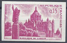 BASILIQUE LISIEUX N°1268 ESSAI COULEUR NON DENTELÉ ROSE PROOF 1960 NEUF ** MNH