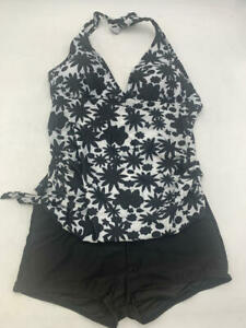 Black & White Floral shadows Tankini 2 PCS SIZE XXL