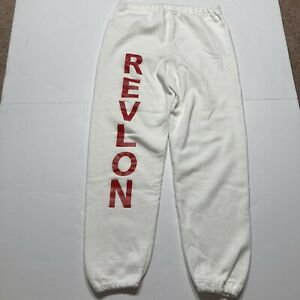 Vintage 1990s REVLON Makeup Jerzees Made In USA White Sweatpants Red