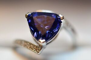 5 CARAT PREMIUM AAA TANZANITE &12 VVS DIAMOND COCKTAIL GYPSY  RING 14K GOLD FILL