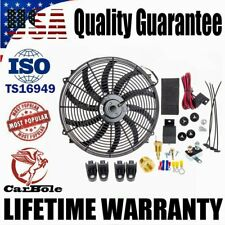 "16"" INCH ELECTRIC RADIATOR COOLING FAN 120W 3000CFM RELAY THERMOSTAT SWITCH KIT"