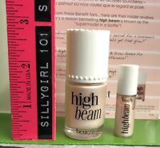 "BENEFIT ""High Beam"" Liquid Highlighter Glow .33 oz Full Size + Travel .08 NWOB"