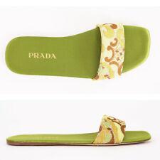 37 NEW $495 PRADA Green FLORAL SILK BROCADE Single Strap Spring SLIDES SANDALS