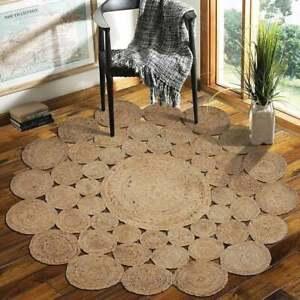 Rug 100% Natural Jute Braided Style Area Rug bohemian Hemp Carpet Living Rag Rug