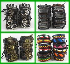 50 PCS Mixed alloy leather bracelets Fashion Jewelry wholesale bulk #2193