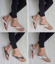 LADIES WOMENS TOE POST LOW WEDGE FLIP FLOPS FOOT BED SUMMER SANDALS SHOES SIZE