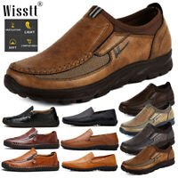 Men's Leather Casual Shoes Driving Breathable Antiskid Loafers Slip on Moccasins