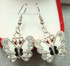 Simple Drop Elegant lady Earring d 925 Silver Plated Hook -2.1 butterfly Animals