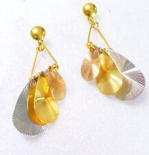 Leafs Oriental Chandelier Stud Earrings 24K Yellow Rose White Gold Plated UK