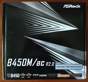 BRAND NEW ASRock B450M/AC R2.0 AM4 AMD Promontory B450 Micro ATX AMD Motherboard